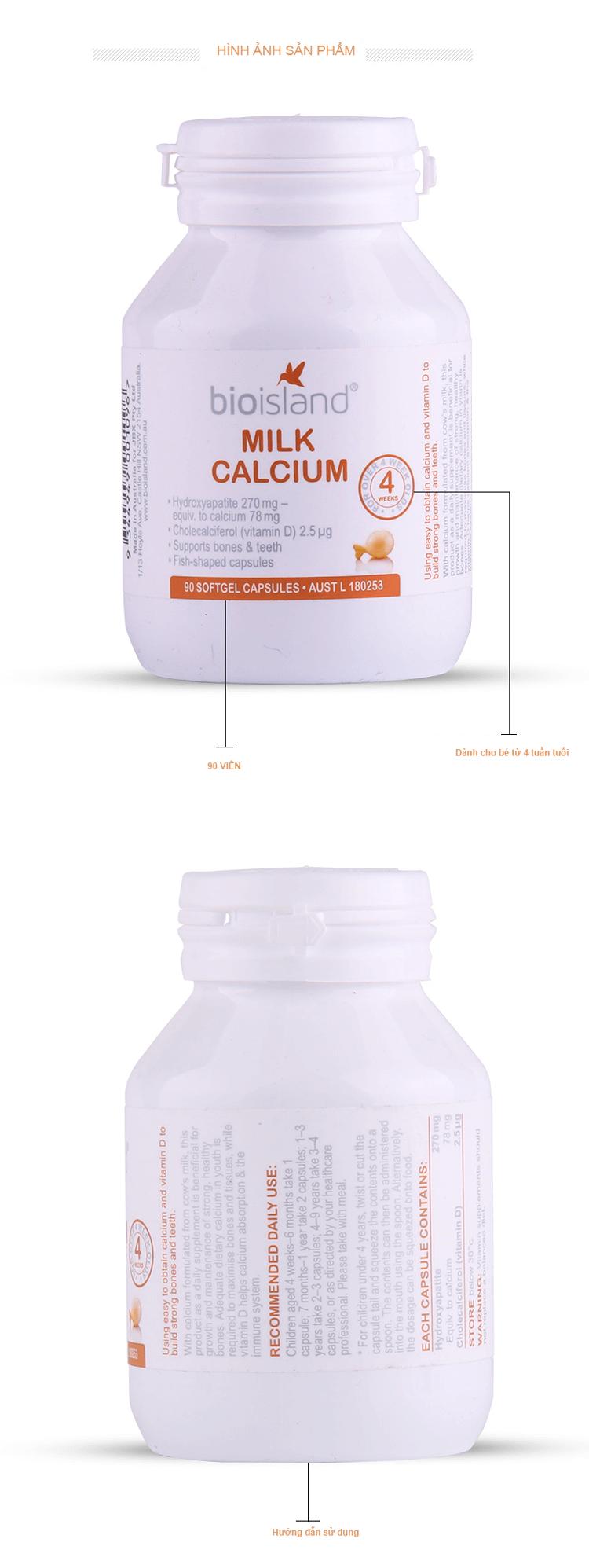 Bio island Milk Calcium 90 viên