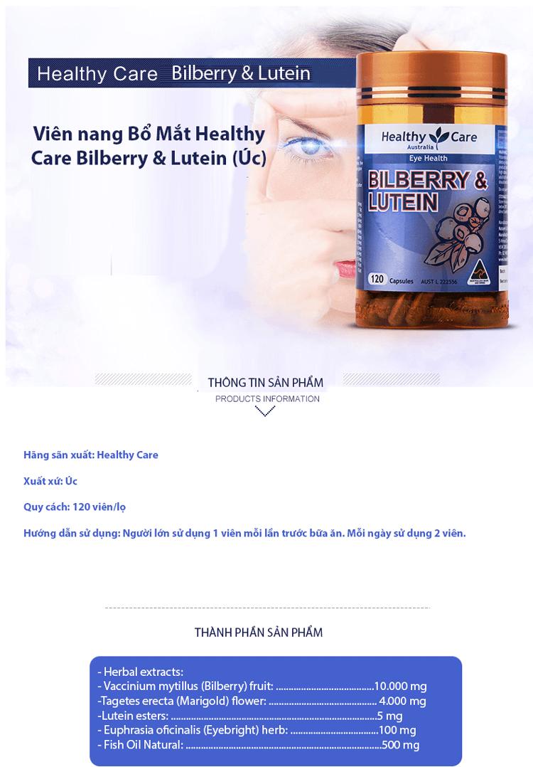 Viên uống Bổ Mắt Health Care Bilberry & Lutein